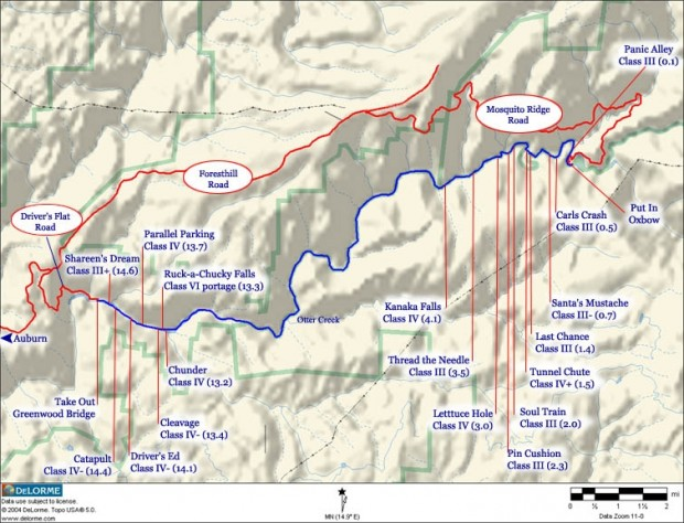 Middle Fork American River map